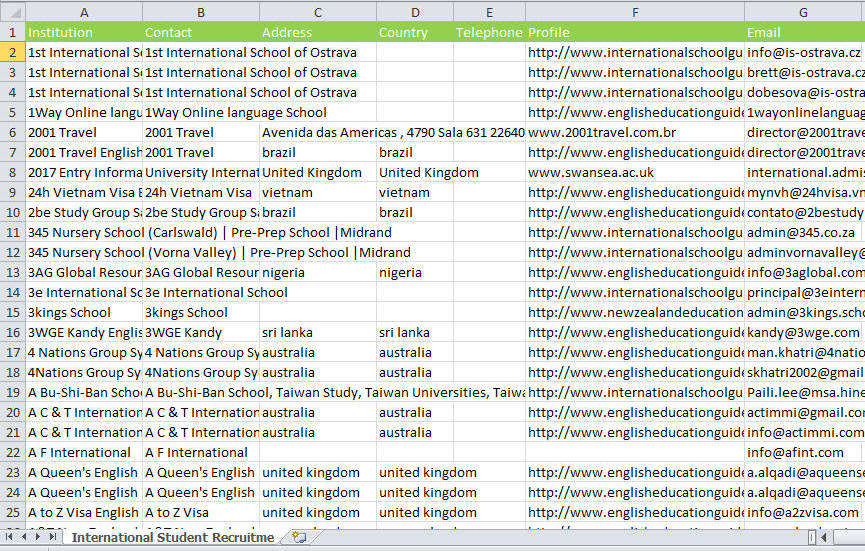 International Student Recruitment Database